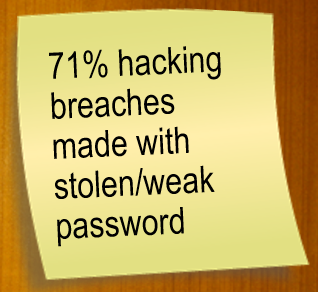71 percent hacking breaches made with stolen/weak passwords