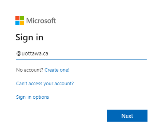 Microsoft sign-in screen with input field for @uottawa.ca email address and link for No account Create one! Can't access your account? and Sign-in options. Blue Next button
