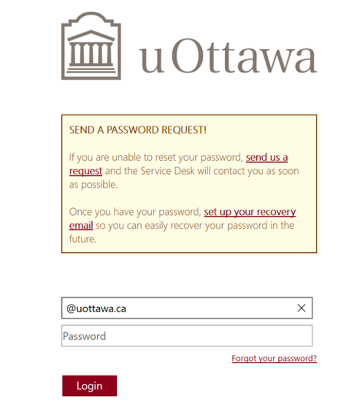 uOttawa authentification page, includes fields for username and password and a login button