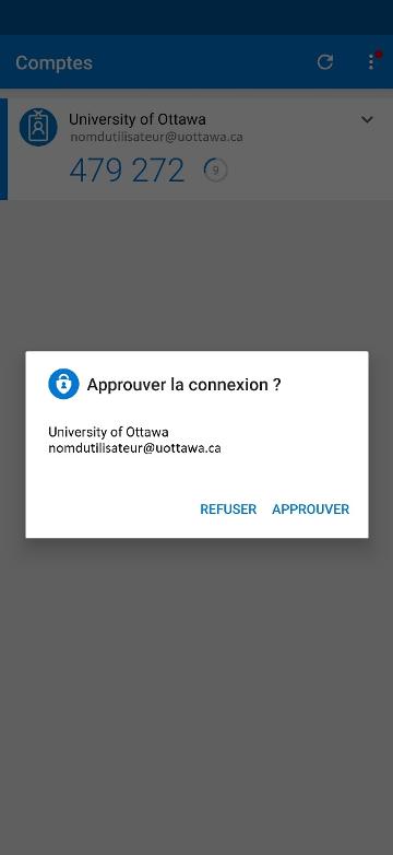 écran Microsoft Authenticator, avec la texte 'Approuver la connexion?', option de Refuser ou Approuver