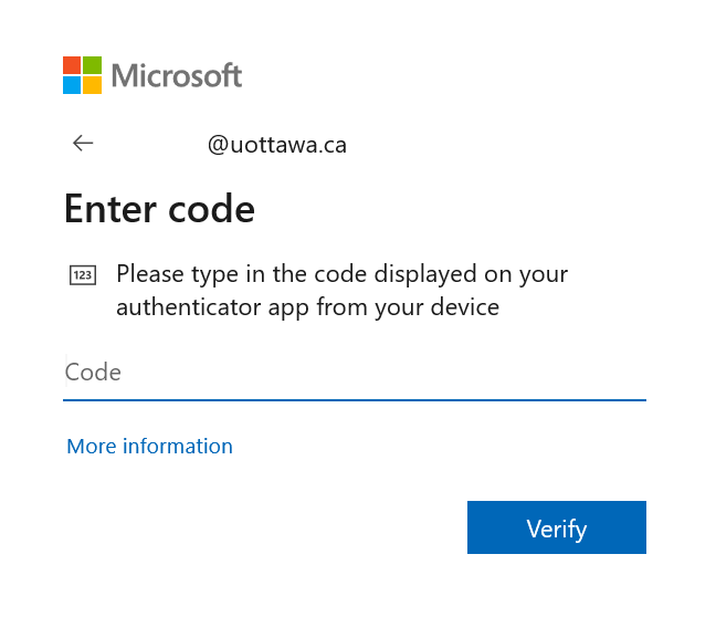 Microsoft screen to Enter code displayed on Microsoft Authenticator app on a mobile device, field to enter code and blue Verify button