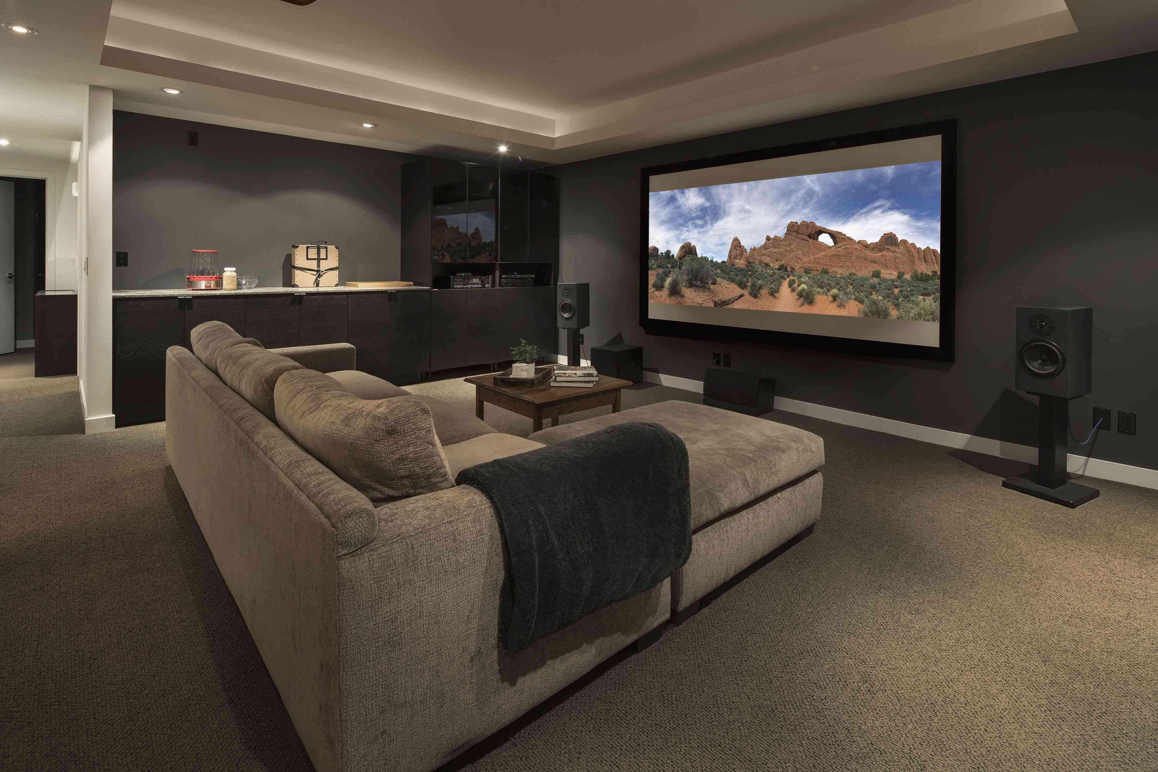 Home theatre automated to play Disney Night.
