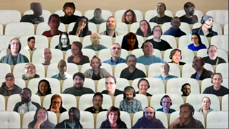 Des personnes sont assises dans un amphithéâtre virtuel par appel vidéo.