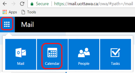 Booking rooms in Outlook for the Web, click Calendar