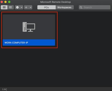 Écran de Windows Remote desktop avec une boîte rouge autour d'un bouton carré d'icône d'ordinateur