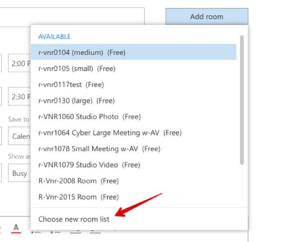 Booking rooms in Outlook for the Web, Choose new room list