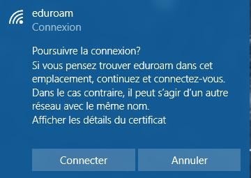 Cliquez sur Connecter