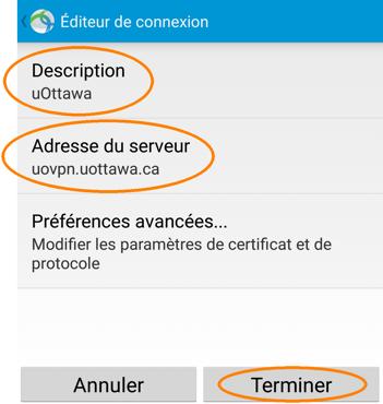 Installer et configurer un profil RPV, étape 7, l'écran Éditeur de connexion