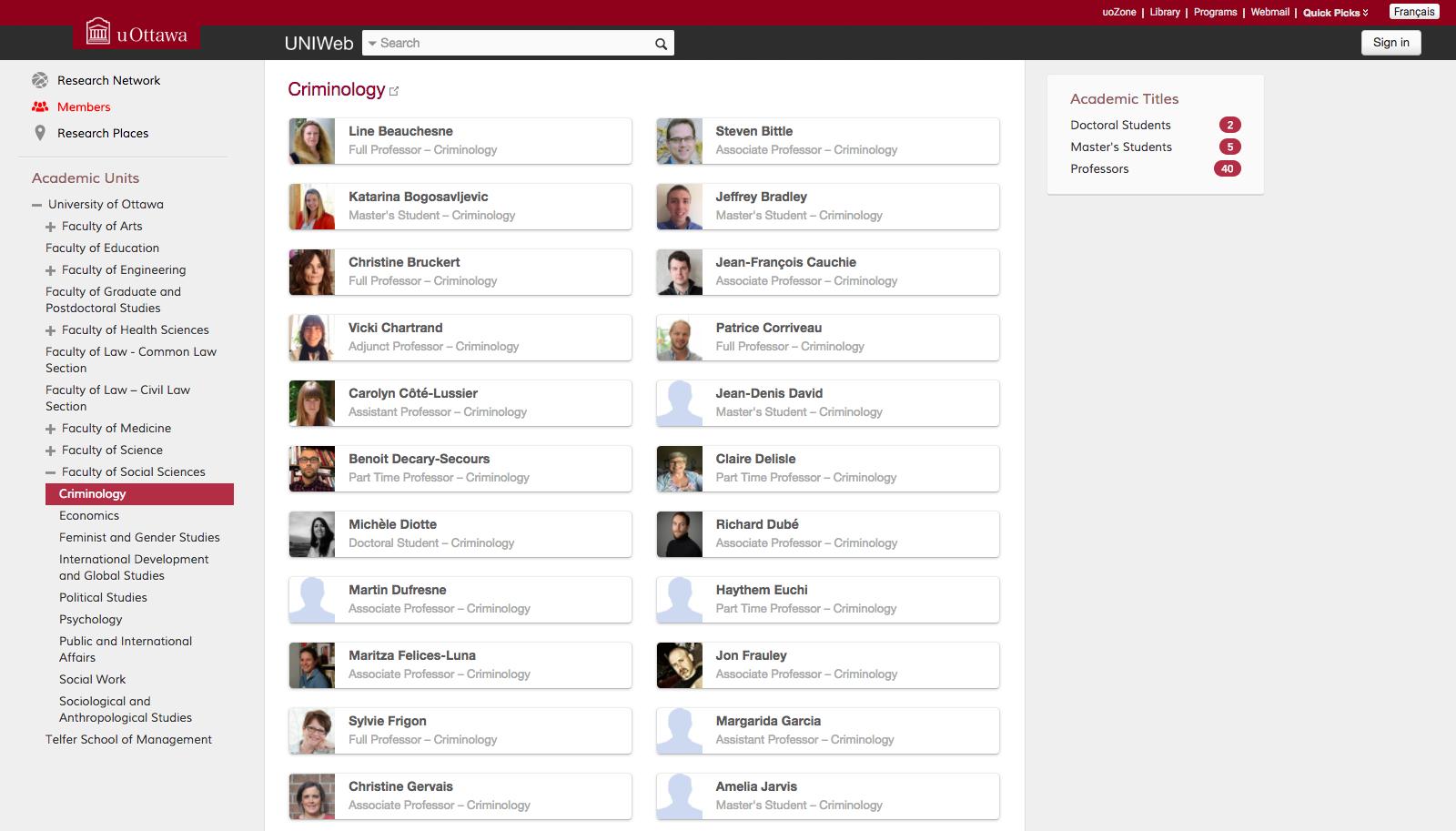 UNIWEB Academic CV tool screenshot