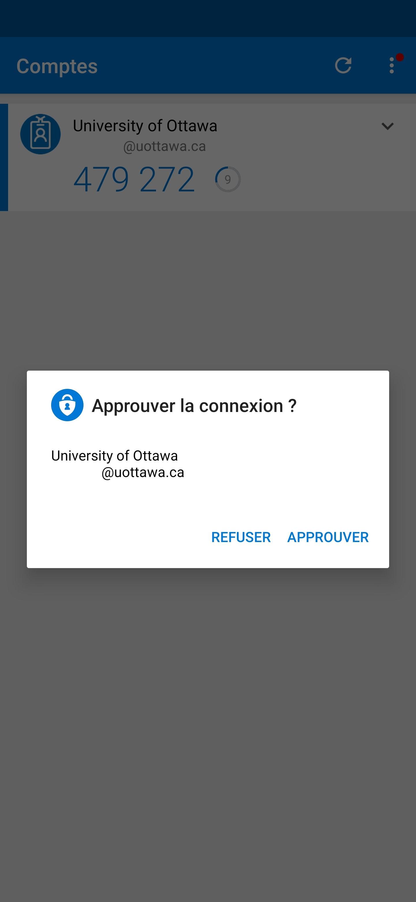 capture d'écran de l'application Authenticator sur téléphone mobile
