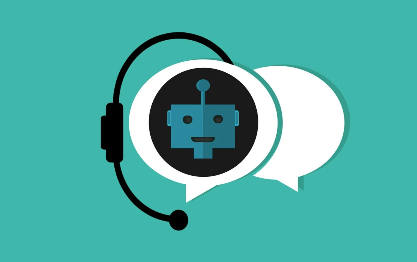 robot in a speech bubble wearing a wireless headset