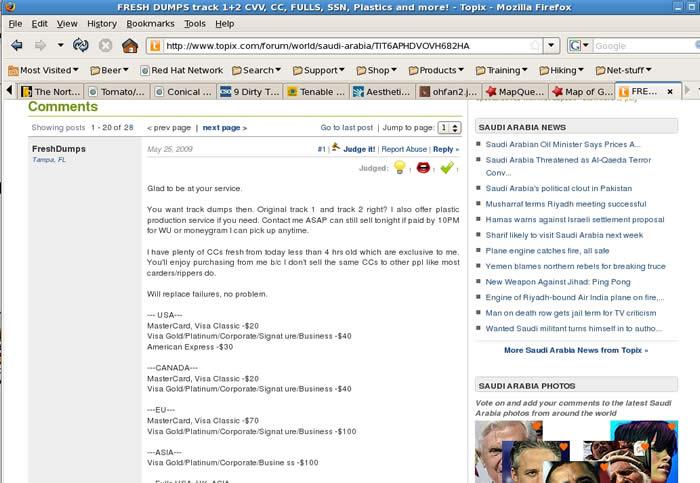 Capture d'écran d'un utilisateur qui tente de vendre des données de cartes de crédit sur un forum en ligne