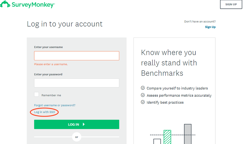 SurveyMonkey log in page with opetions to login, login with SSO, or Forgot your password
