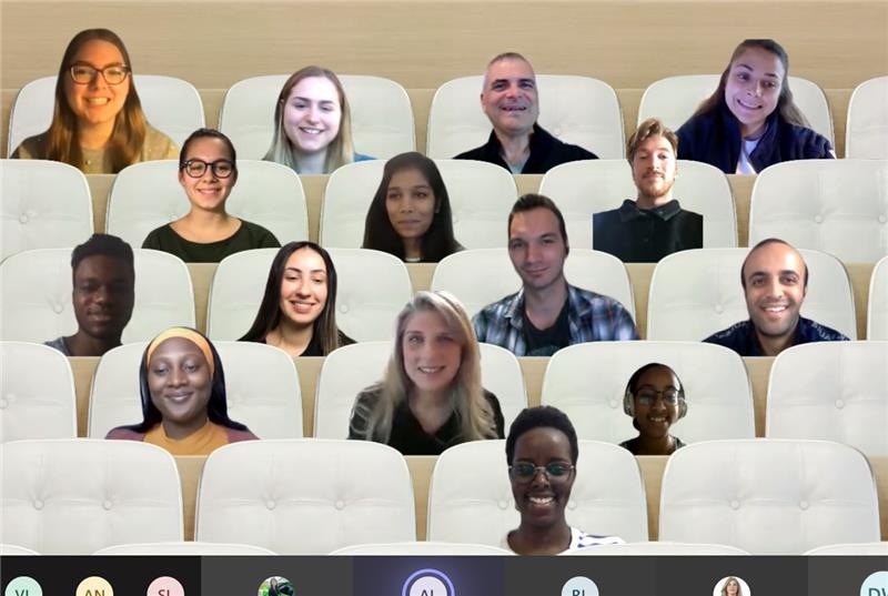 Screenshot of team video meeting