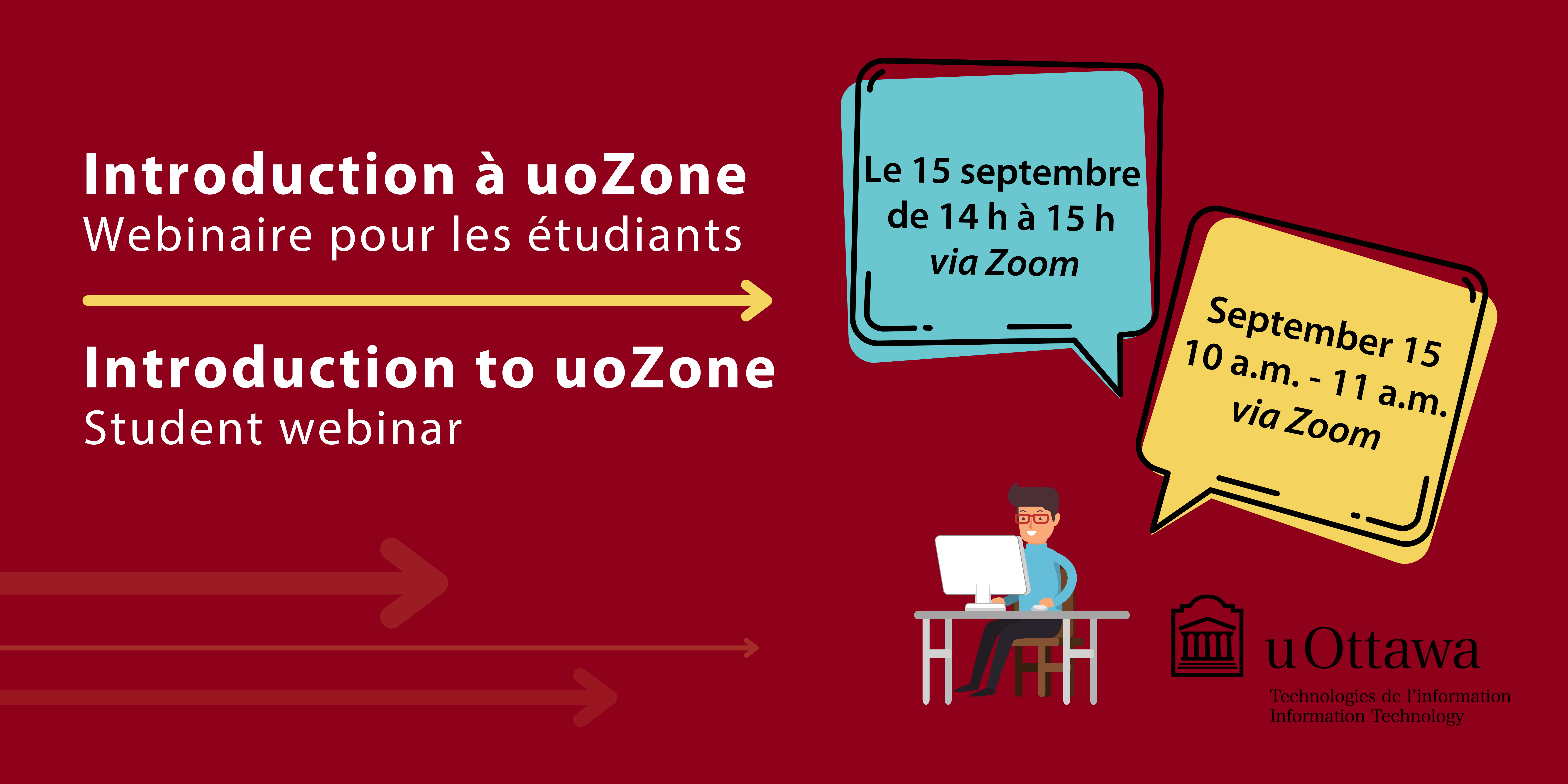 vector image of male at desk working on computer with heading 'Introduction to uoZone - Student webinar' includes speech bubble with text September 15, 10-11 am, via Zoom