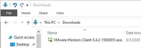 Screenshot of Download folder showing VMware Horizon Client