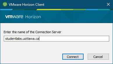 VMWare Horizon screen with input box to 'Enter the name of the Connection Server'