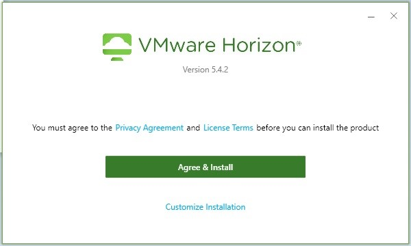 Screen instruction with content VMware Horizon version 5.4.2, you must agree to the privacy agreement and licence terms before you can install the product, agree and install green button and customize installation