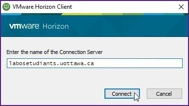 Screenshot of window with content Enter the name of the connection server, connect and cancel buttons