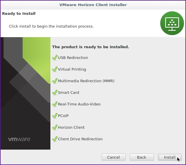 La fenêtre VMware Horizon Client. Click install to begin the installation process. Les boutons Install, back and cancel.