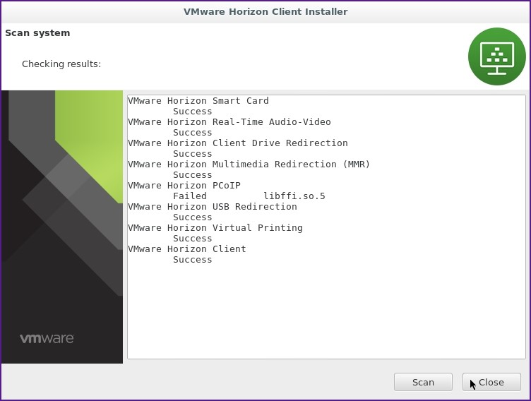 VMware Horizon Client window. Checking results. Scan and Close buttons.