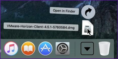 Screenshot of downloads showing VMware Horizon client.