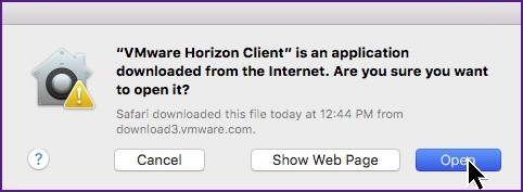 Screenshot of window notifying the application has been downloaded from the internet. Cancel, show web page and open buttons.