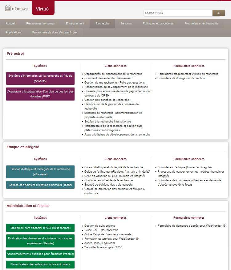 Onglets Recherche et Enseignements dans le portail des employés uOttawa