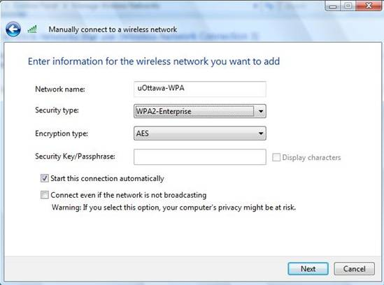 Access uOttawa-WPA wireless with Windows Vista - step 4