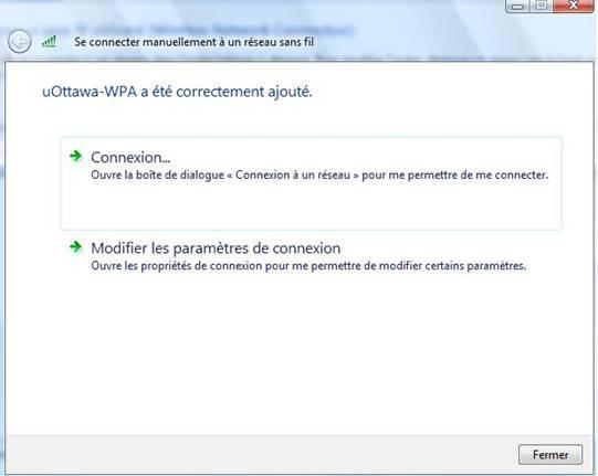 Accéder au réseau sans fil uOttawa-WPA avec Windows Vista - étape 5