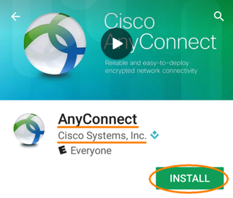 Installing and Configuring a VPN Profile, step 1, tap install