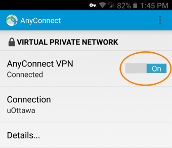 Installing and Configuring a VPN Profile, step 16, tap AnyConnect VPN switch