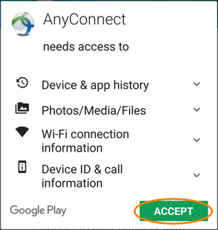 Installing and Configuring a VPN Profile, step 2, tap Accept