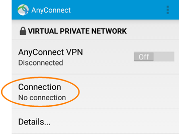 Installing and Configuring a VPN Profile, step 5, tap Connection