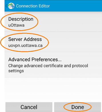 Installing and Configuring a VPN Profile, step 7, Tap the back button