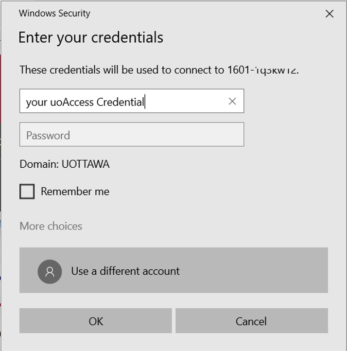 Screen for Enter your credentials field for user name, field for password, domain name, More options, OK button, Cancel button