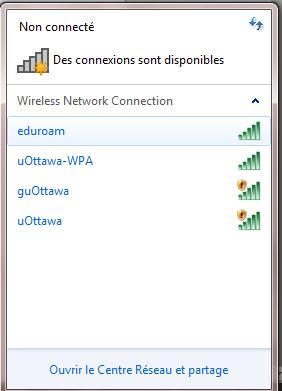 Configurer eduroam pour Windows 7, étape 2, cliquez sur Connexion
