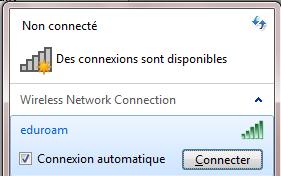 Configurer eduroam pour Windows 7, étape 3, assurez-vous que l'option Connexion automatique est sélectionné