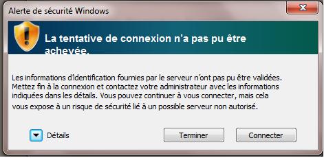 Configurer eduroam pour Windows 7, étape 5, cliquez sur Connexion