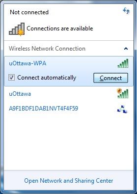 Access uOttawa-WPA wireless with Windows 7 - step 2