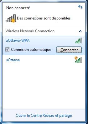 Accéder au réseau sans fil uOttawa-WPA avec Windows 7 - étape 2