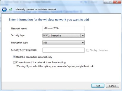 Windows 7 alternative configuration for WPA - step 3d