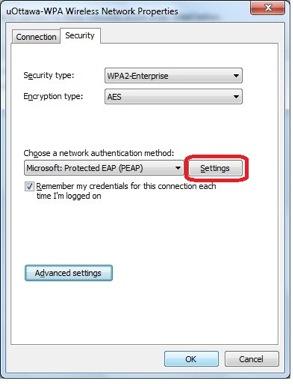 Accéder au réseau sans fil uOttawa-WPA avec Windows 7, configuration alternative - étape 5c