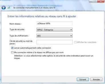 Accéder au réseau sans fil uOttawa-WPA avec Windows 7, configuration alternative - étape 3d