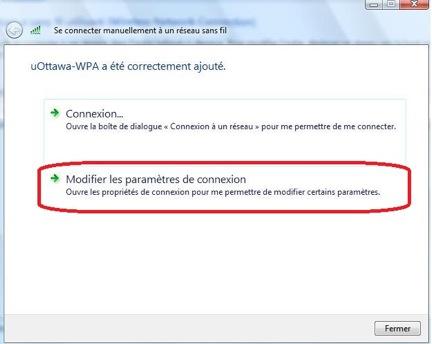 Accéder au réseau sans fil uOttawa-WPA avec Windows 7, configuration alternative - étape 4