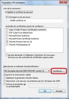 Accéder au réseau sans fil uOttawa-WPA avec Windows 7, configuration alternative - étape 5h