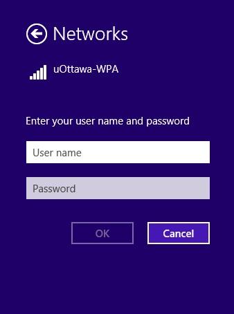 Access uOttawa-WPA wireless with Windows 8, alternative configuration - step 3