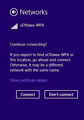 Access uOttawa-WPA wireless with Windows 8 - step 4