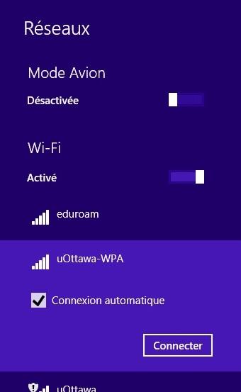 Accéder au réseau sans fil uOttawa-WPA avec Windows 8 - étape 2