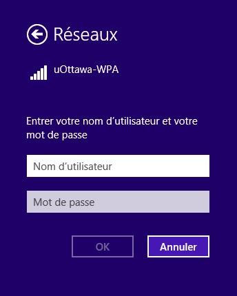 Accéder au réseau sans fil uOttawa-WPA avec Windows 8 - étape 3